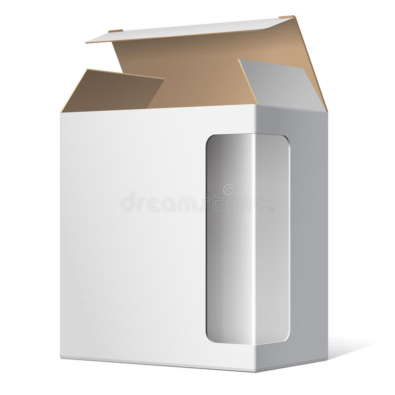 Realistic Open Package Cardboard Box vector illustration