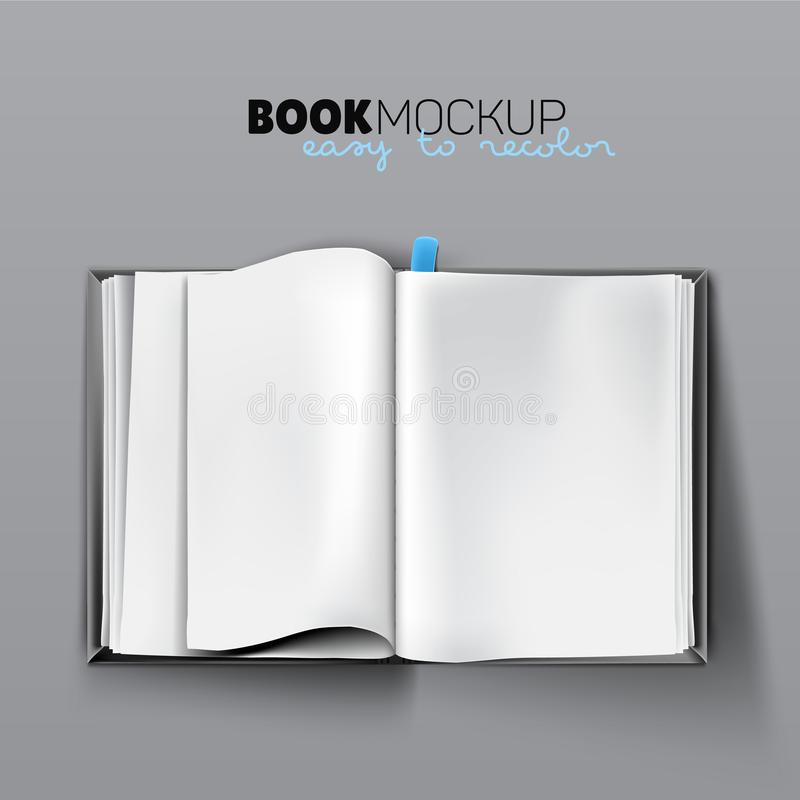 Realistic opened empty book mockup with blank white pages stock illustration