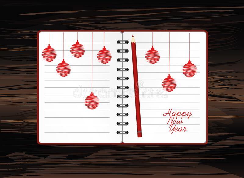 Realistic opened notebook template with christmas red balls and pencils. Vector on wooden. Diary for business. Greeting card on. Holiday. A realistic notepad stock illustration