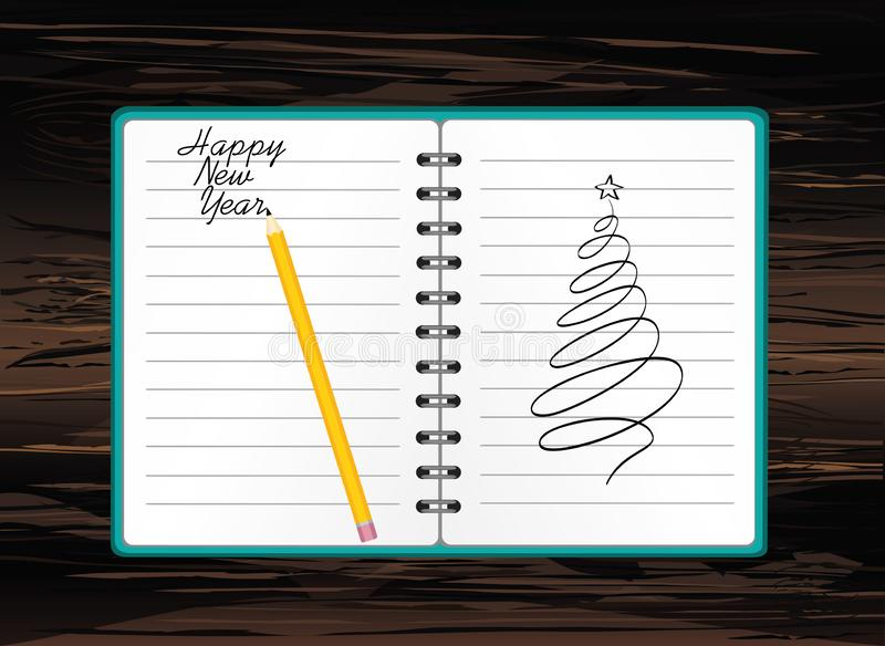 Realistic opened notebook template with christmas tree and ball and pencil. Vector on wooden background. Diary for business. Greeting card on holiday. A stock illustration
