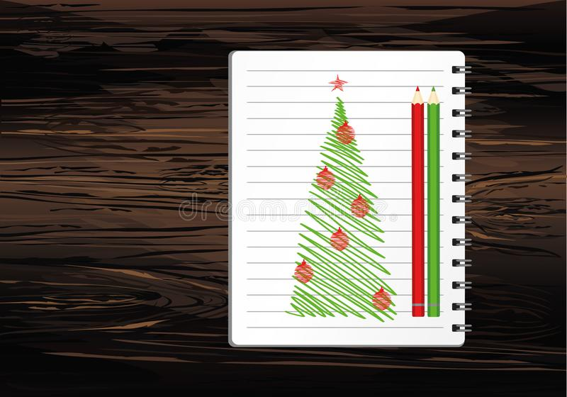 Realistic opened notebook template with christmas tree and ball and pencil. Vector on wooden background. Diary for business. Greeting card on holiday. A vector illustration