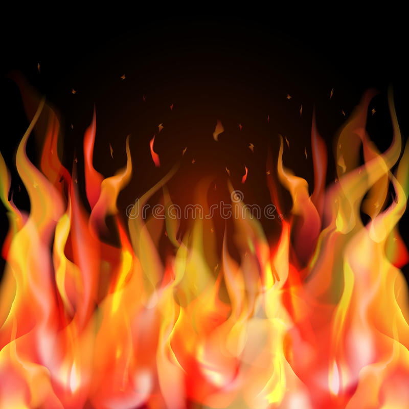 realistic orange and red fire flame on black background stock illustration