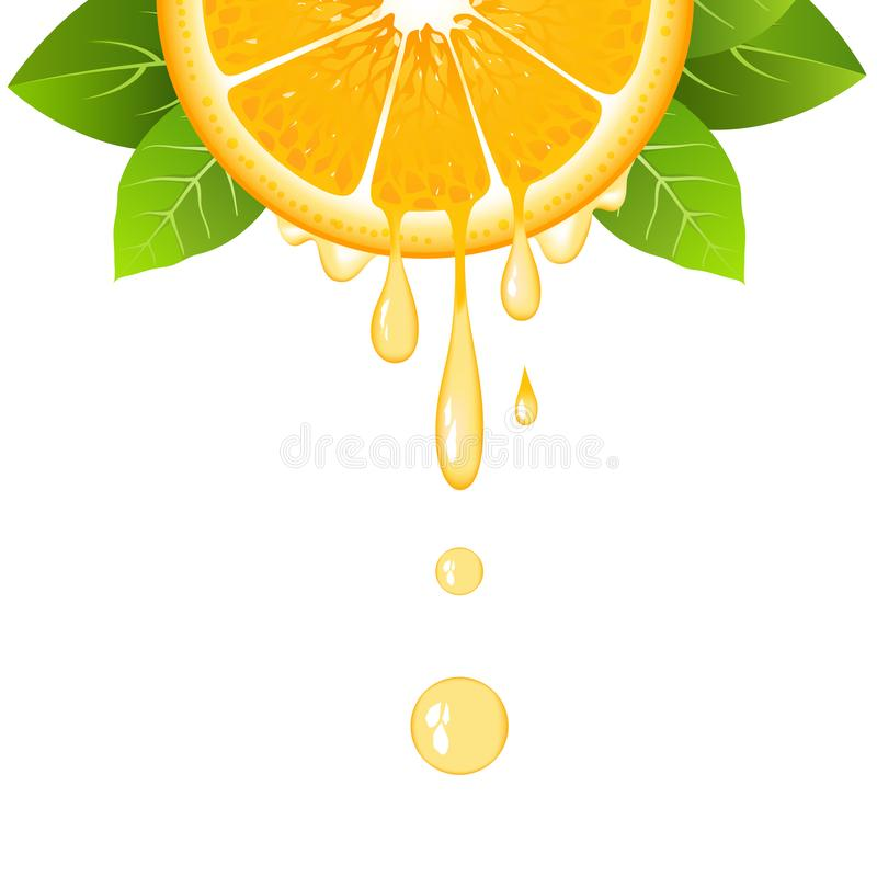 Realistic orange slice with leaves and drops of juice. Juicy fruit. Fresh citrus design on white background vector illustration stock illustration