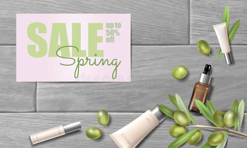 Realistic organic olive oil cosmetics ad. Natural essence farm plant spring sale offer promo mesh 3D wooden plank royalty free illustration