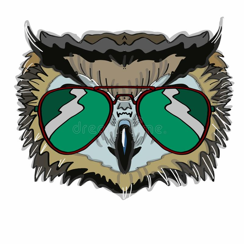 Realistic owl head and sunglasses. And white background stock illustration