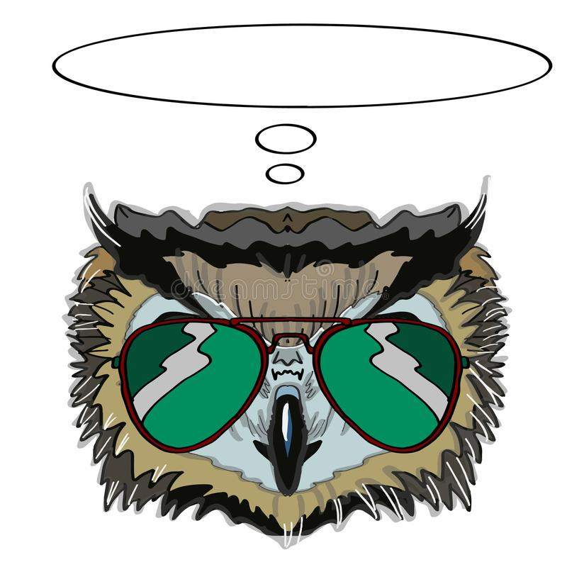 Realistic owl head and thinking and sunglasses. And white background vector illustration