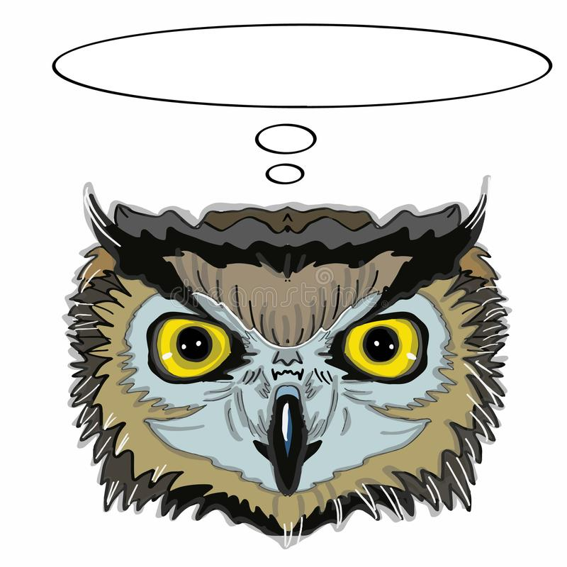 Realistic owl head and thinking and sunglasses. Realistic owl head and thinking and white background stock illustration