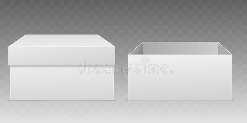 Realistic packaging boxes. Empty white box mockup, consumer cardboard package paper wrap open closed carton container vector illustration