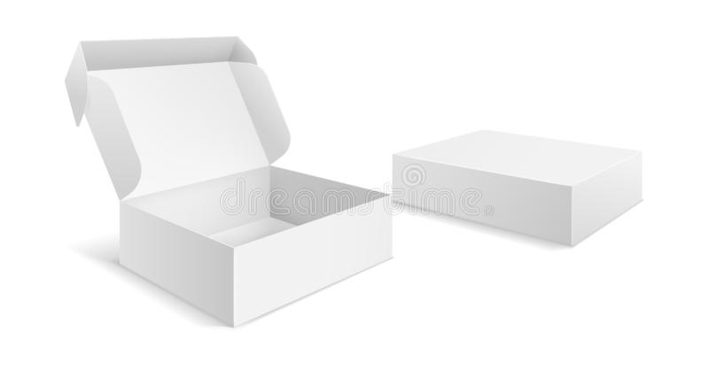 Realistic packaging boxes. Paper blank white box, carton empty mockup open closed package template vector isolated royalty free illustration