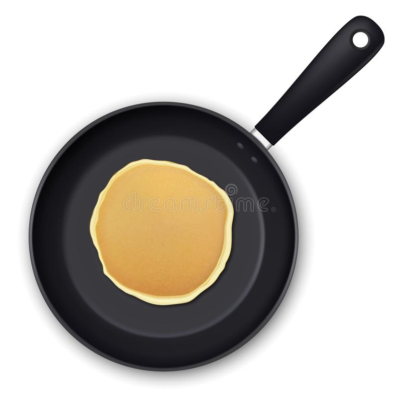 Realistic pancake in the frying pan closeup isolated on white background, top view. Design template for breakfast, food stock illustration