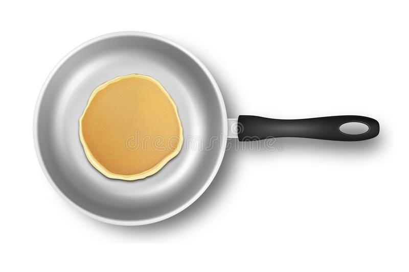 Realistic pancake in the frying pan closeup isolated on white background, top view. Design template for breakfast, food. Menu and homestyle concept vector illustration