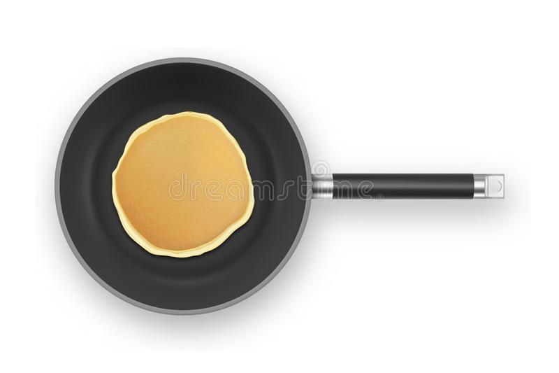 Realistic pancake in the frying pan closeup isolated on white background, top view. Design template for breakfast, food. Menu and homestyle concept royalty free illustration