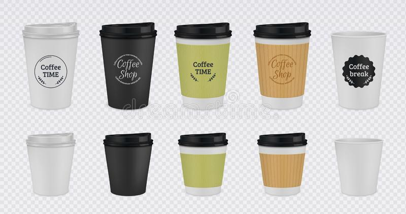 Realistic paper coffee cup. Disposable plastic and paper coffee mugs mockup. 3D vector illustration colorful isolated. Templates tea cups with lid on royalty free illustration