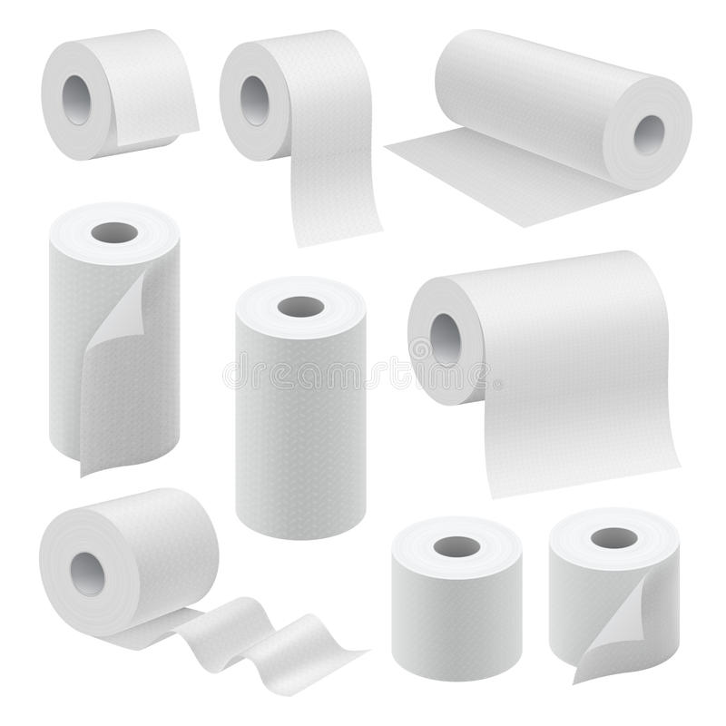 Realistic paper roll mock up set vector illustration
