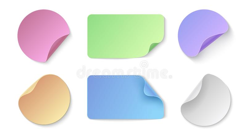 Realistic paper stickers. Round and rectangular colored price tags, memo stickers design template. Vector labels with vector illustration