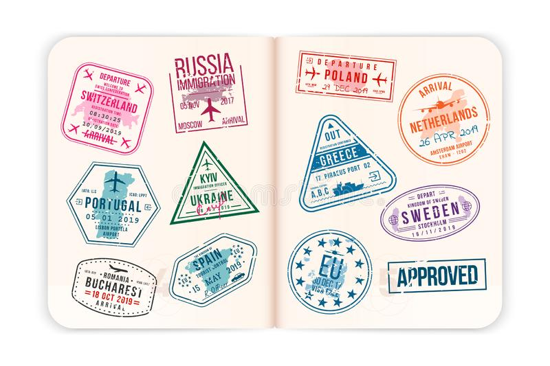 Realistic passport pages with visa stamps. Open foreign passport with custom visa stamps vector illustration