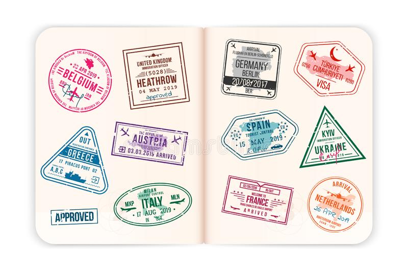 Realistic passport pages with visa stamps. Open foreign passport with custom visa stamps stock illustration