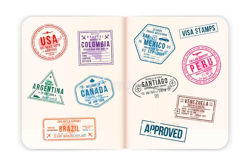 Realistic passport pages with visa stamps. Opened foreign passport with custom visa stamps. Travel concept royalty free illustration