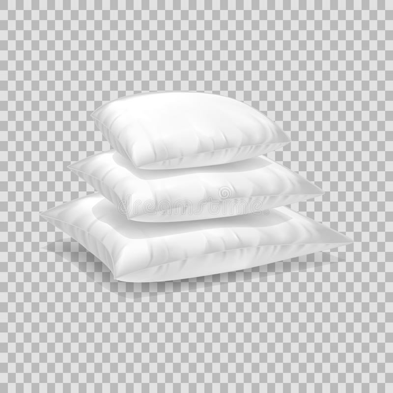 Realistic pattern template of white pillow. Pile white pillow layout. Realistic pattern template of white pillow. Pile empty white pillow layout, mockup, home vector illustration