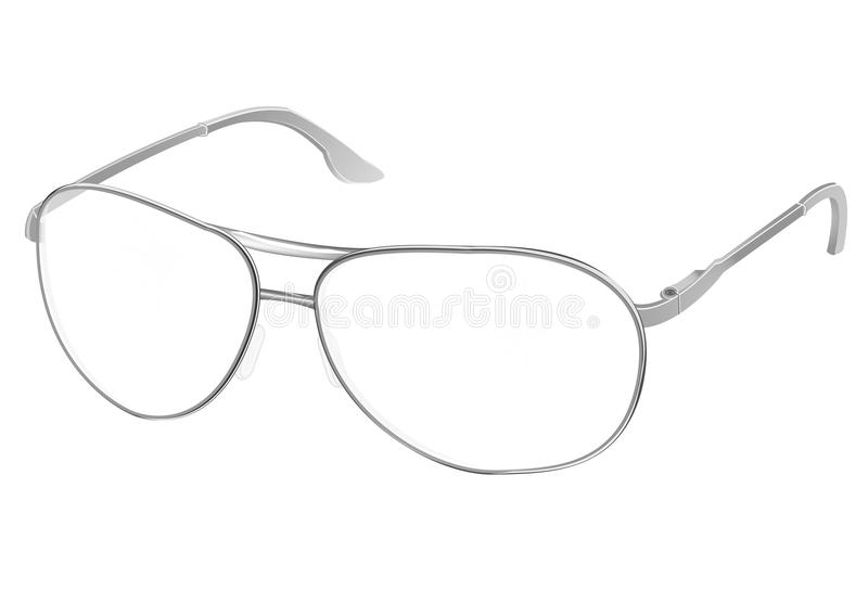 Realistic PC glasses with transparent white round lenses isolated on background, vector illustratio royalty free illustration