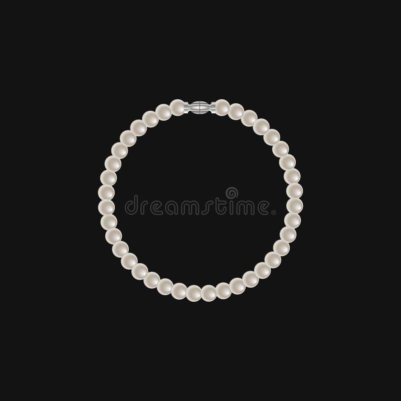 Realistic pearl bracelet isolated on black background stock illustration
