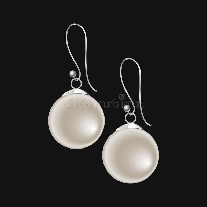 Realistic pearl earrings isolated on black background vector illustration