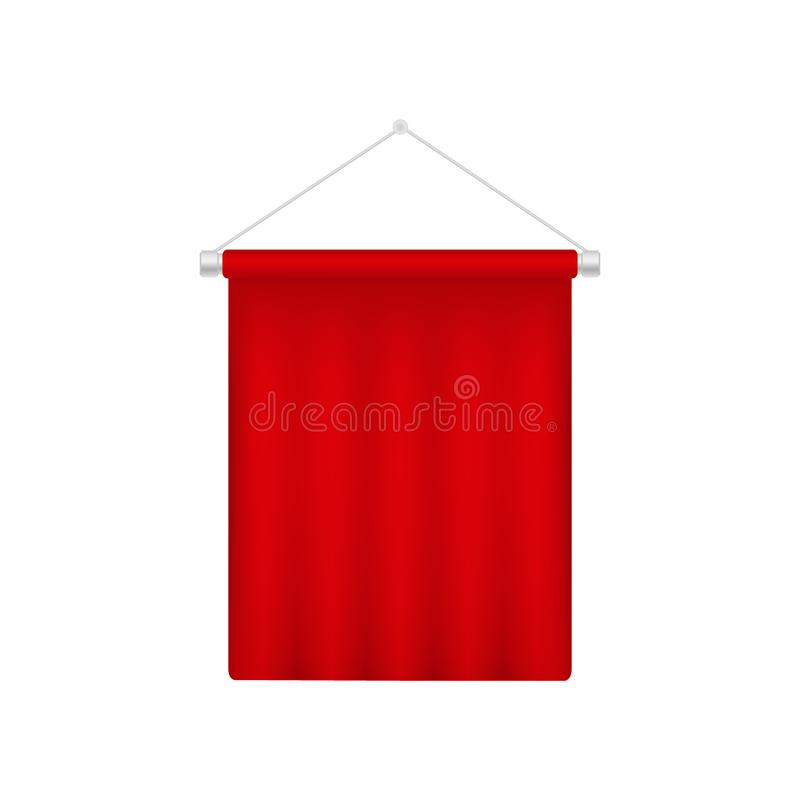 Realistic pennant template. Red blank 3D flag stock illustration