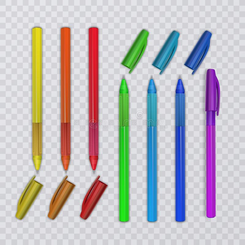 Realistic pens with rainbow colors. Vector illustration. Realistic pens with rainbow colors. Vector eps 10 illustration royalty free illustration