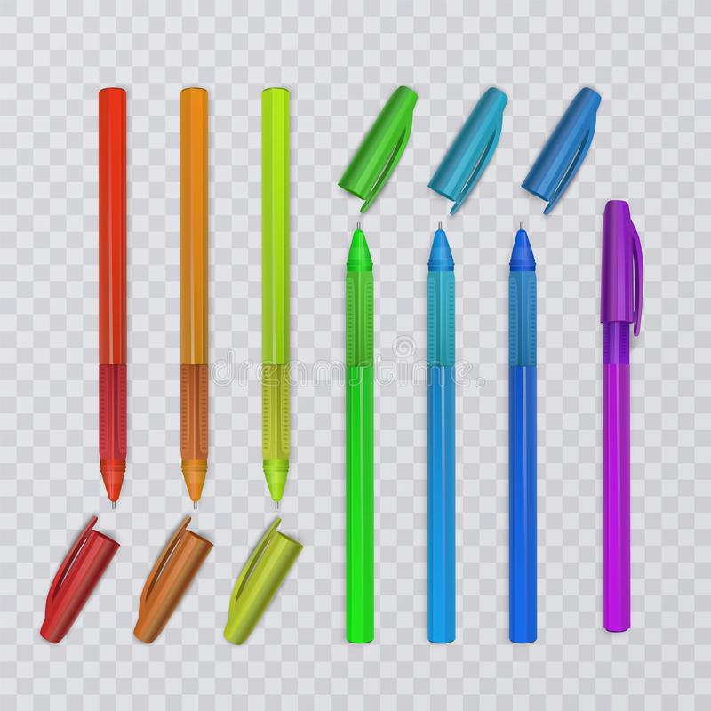 Realistic pens with rainbow colors. Vector illustration. Realistic pens with rainbow colors. Vector eps 10 illustration stock illustration