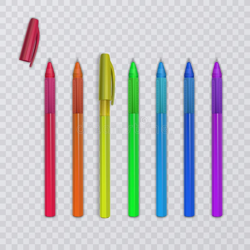 Realistic pens with rainbow colors. Vector illustration. Realistic pens with rainbow colors. Vector eps 10 illustration vector illustration