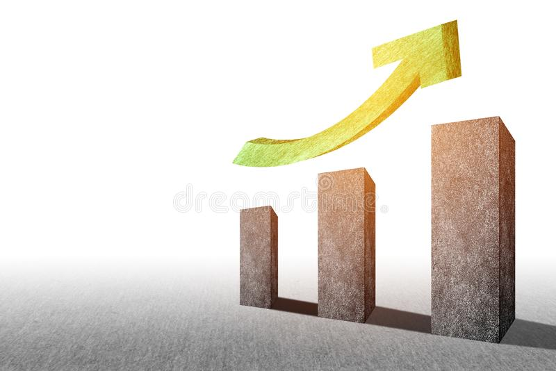 Realistic perspective rising up bar chart. Trend graph for financial and economy report. Business marketing and Successful. Concept. Investment and e-commerce vector illustration