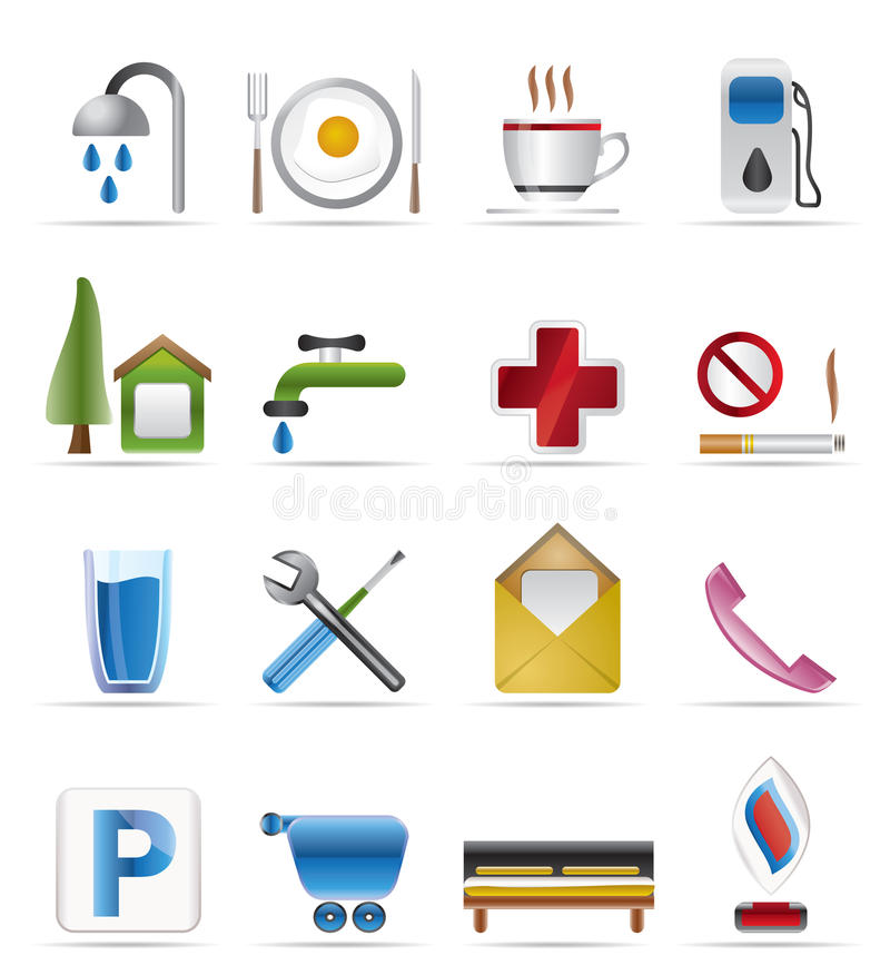 Realistic Petrol Station And Travel Icons Royalty Free Stock Photos