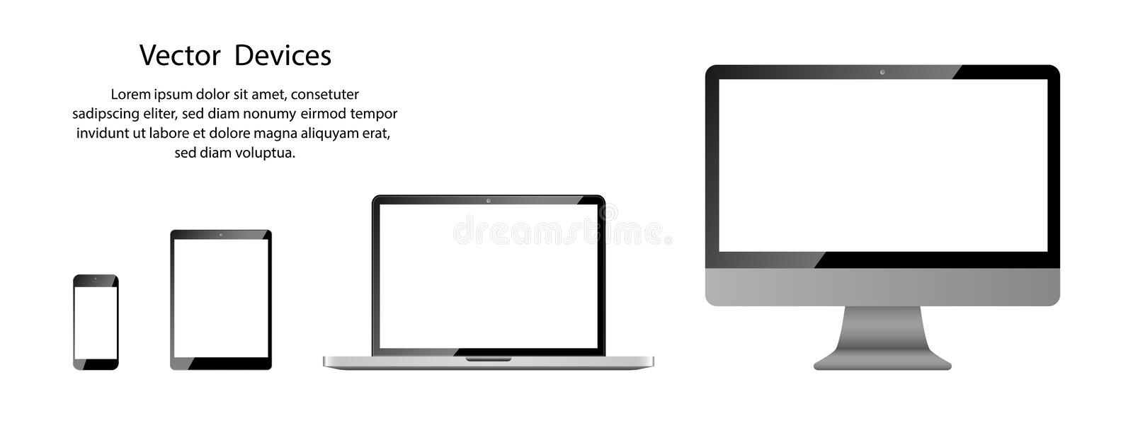 Realistic Phone, Tablet, Laptop and Computer monitor with white screen on blank background vector illustration