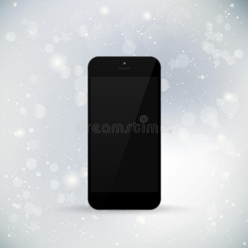 Realistic phone on winter background. Blank screen vector illustration