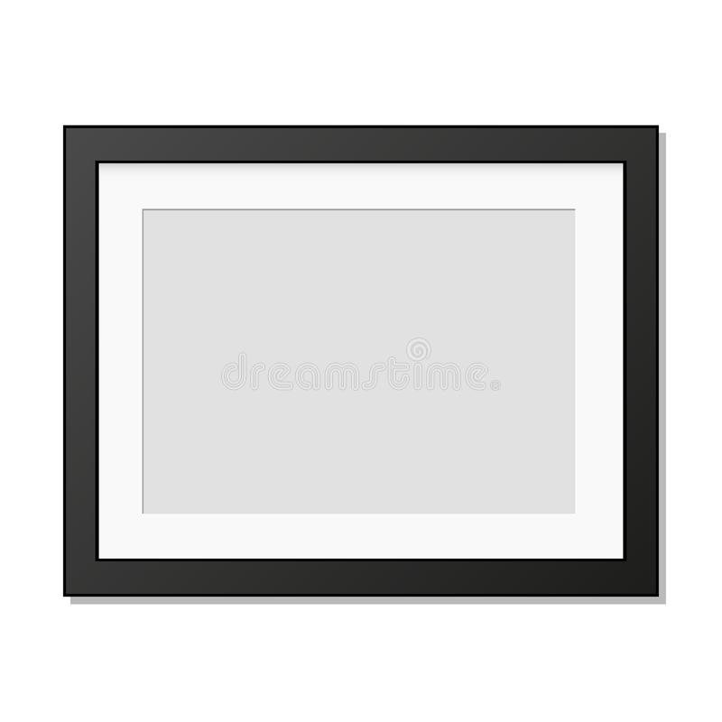 Realistic photo frame hanging on the wall royalty free illustration