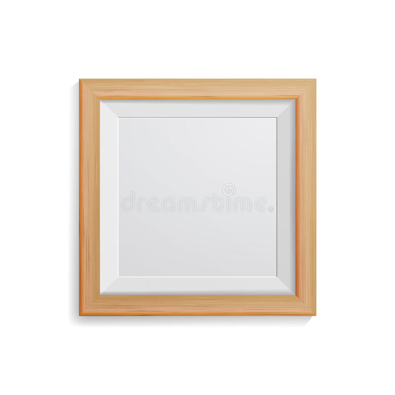 Realistic Photo Frame Vector. Square Light Wood Blank Picture Frame, Hanging On White Wall From The Front. Design Template For Moc vector illustration