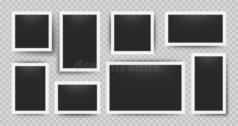 Realistic photo frames. 3D blank album snapshot with white frame on transparent background. Vector retro photo set vector illustration