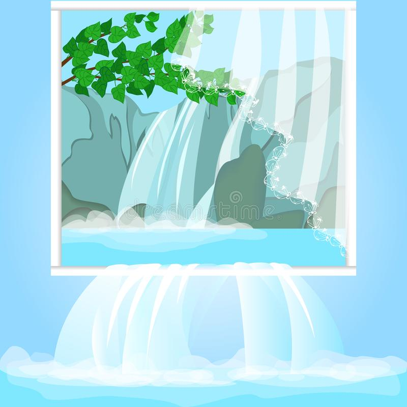 Realistic picture with forest waterfall. Nature protection, environmental protection. Water is poured into the interior royalty free illustration