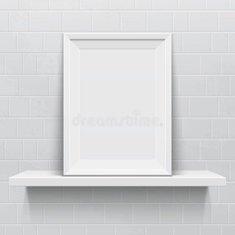 Realistic picture frame on white realistic shelf royalty free illustration
