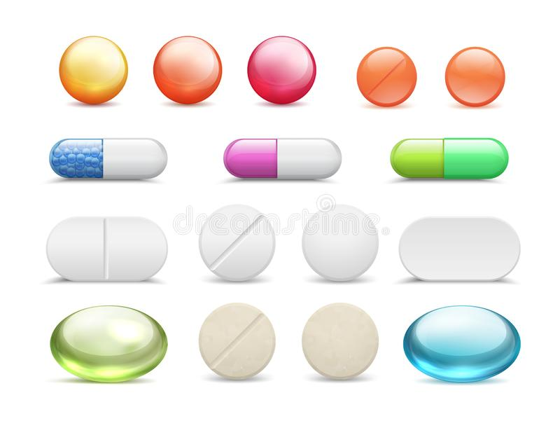 Realistic pills. Medicine tablets round vitamins and capsule drugs, different healthcare pharmacy. Vector cure medicines royalty free illustration
