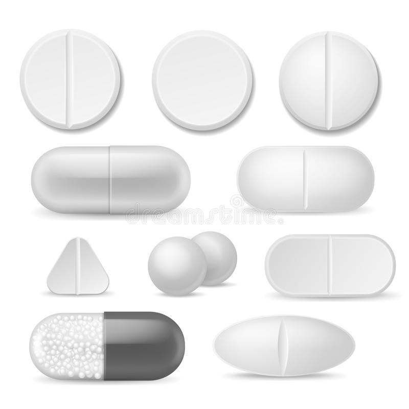 Realistic pills. White medicine tablets. Antibiotic aspirin painkiller drugs, therapy pharmacy healthcare addiction. Vector capsule icon set royalty free illustration