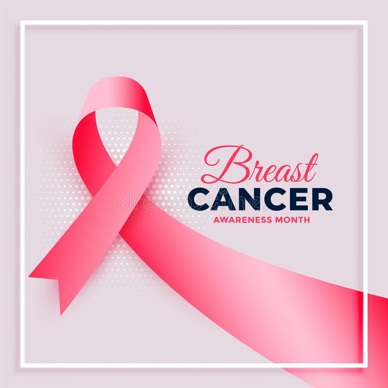 Realistic pink ribbon breast cancer awareness month background. Vector stock illustration