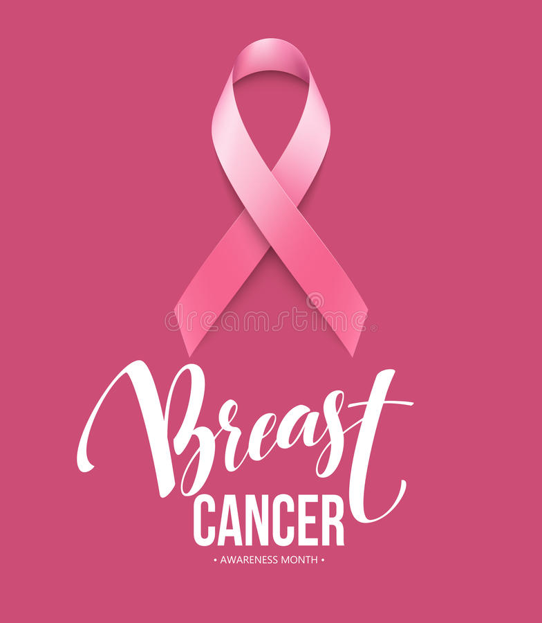 Realistic pink ribbon, breast cancer awareness symbol. Vector illustration. EPS10 vector illustration