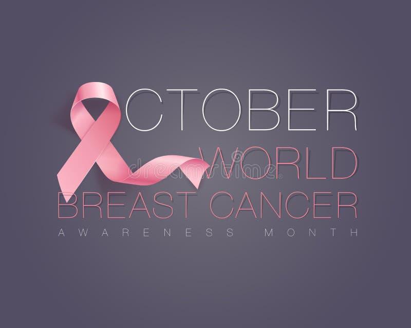 Realistic pink ribbon, breast cancer awareness symbol. Vector illustration vector illustration