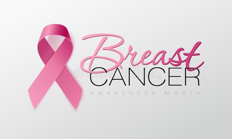 Realistic pink ribbon, breast cancer awareness symbol. Vector illustration. Realistic pink ribbon, breast cancer awareness symbol, vector illustration stock illustration