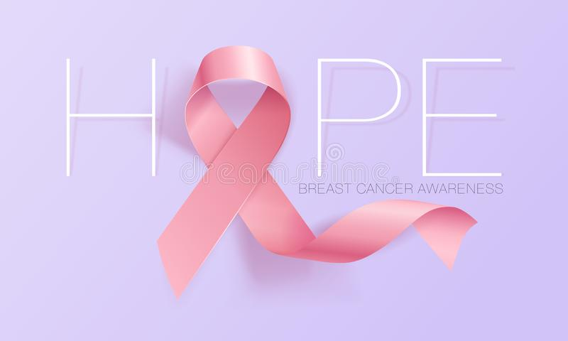 Realistic pink ribbon, breast cancer awareness symbol. Vector illustration. Realistic pink ribbon, breast cancer awareness symbol, vector illustration royalty free illustration