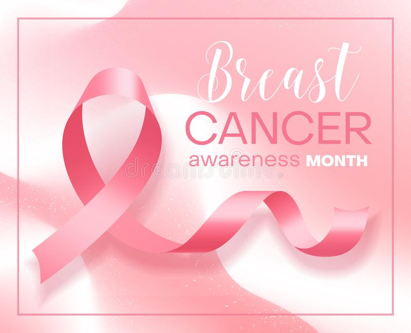 Realistic pink ribbon over white and pink background. Symbol of world breast cancer awareness month in october. Vector illustration royalty free illustration