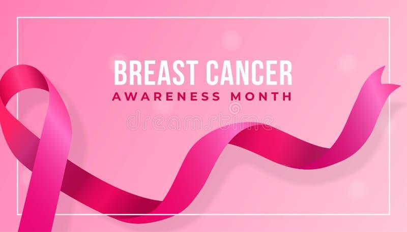 Realistic pink ribbon vector illustration for Breast Cancer Awareness Month poster background design concept. Eps 10 vector illustration