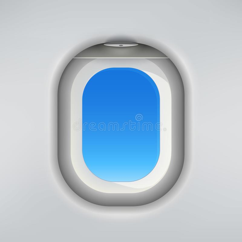 Realistic plane window vector template with blue sky in it. Realistic plane window vector template with blue sky inside vector illustration