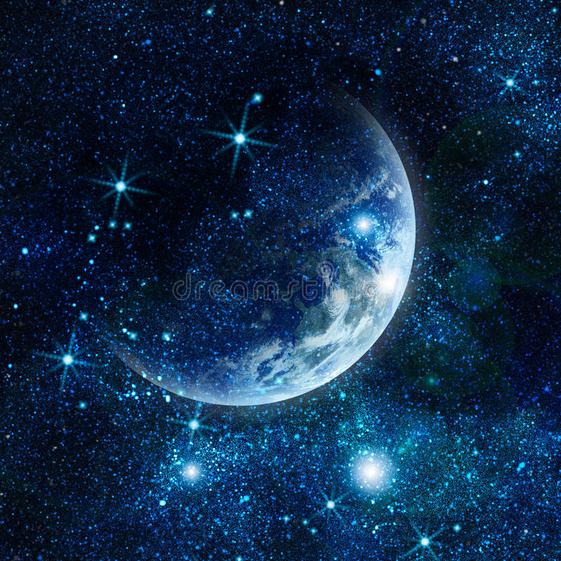 Realistic planet earth in space royalty free illustration